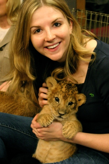 Hilary and lion cub